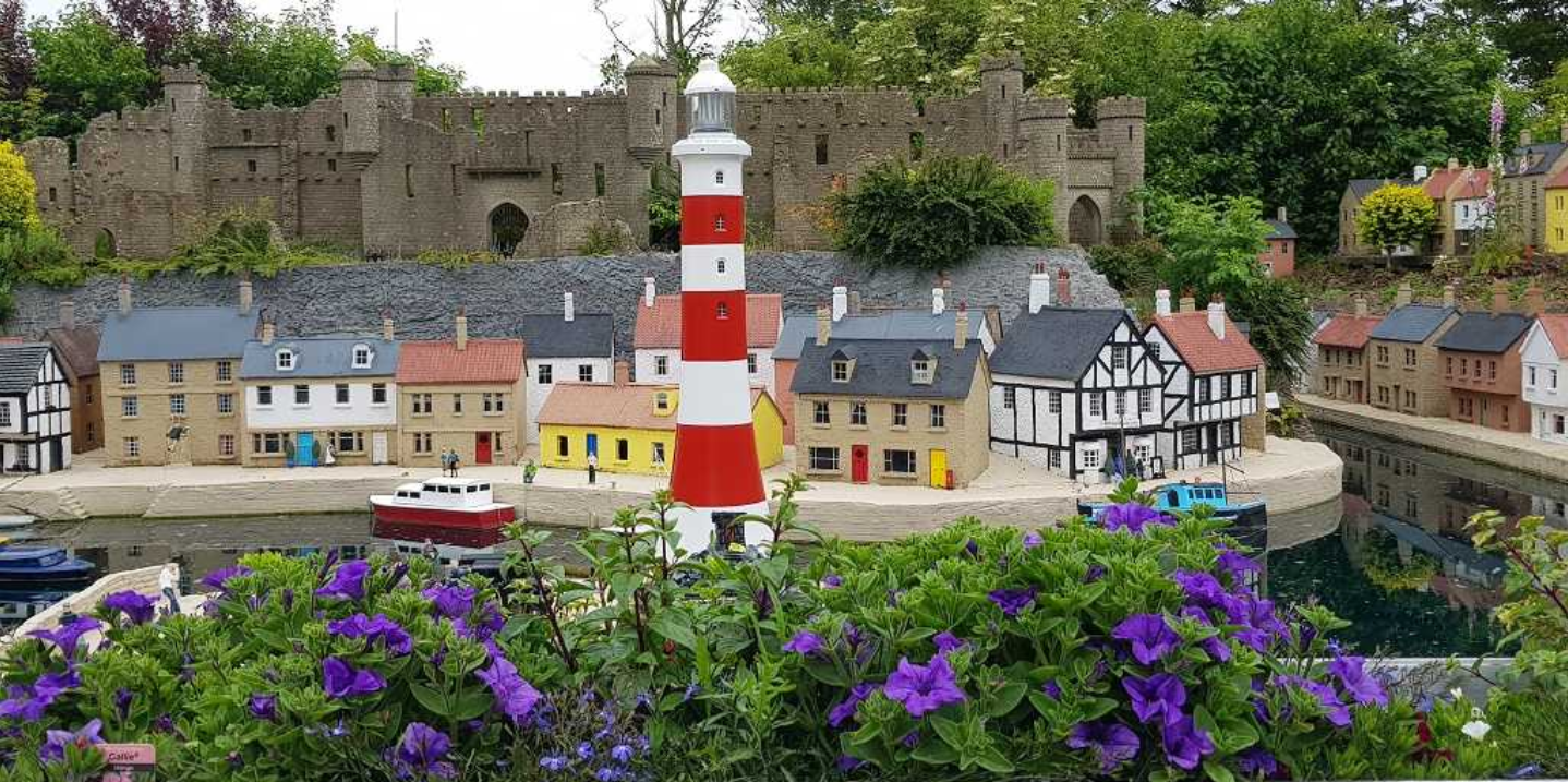A photo of the model village, showing the lighthouse