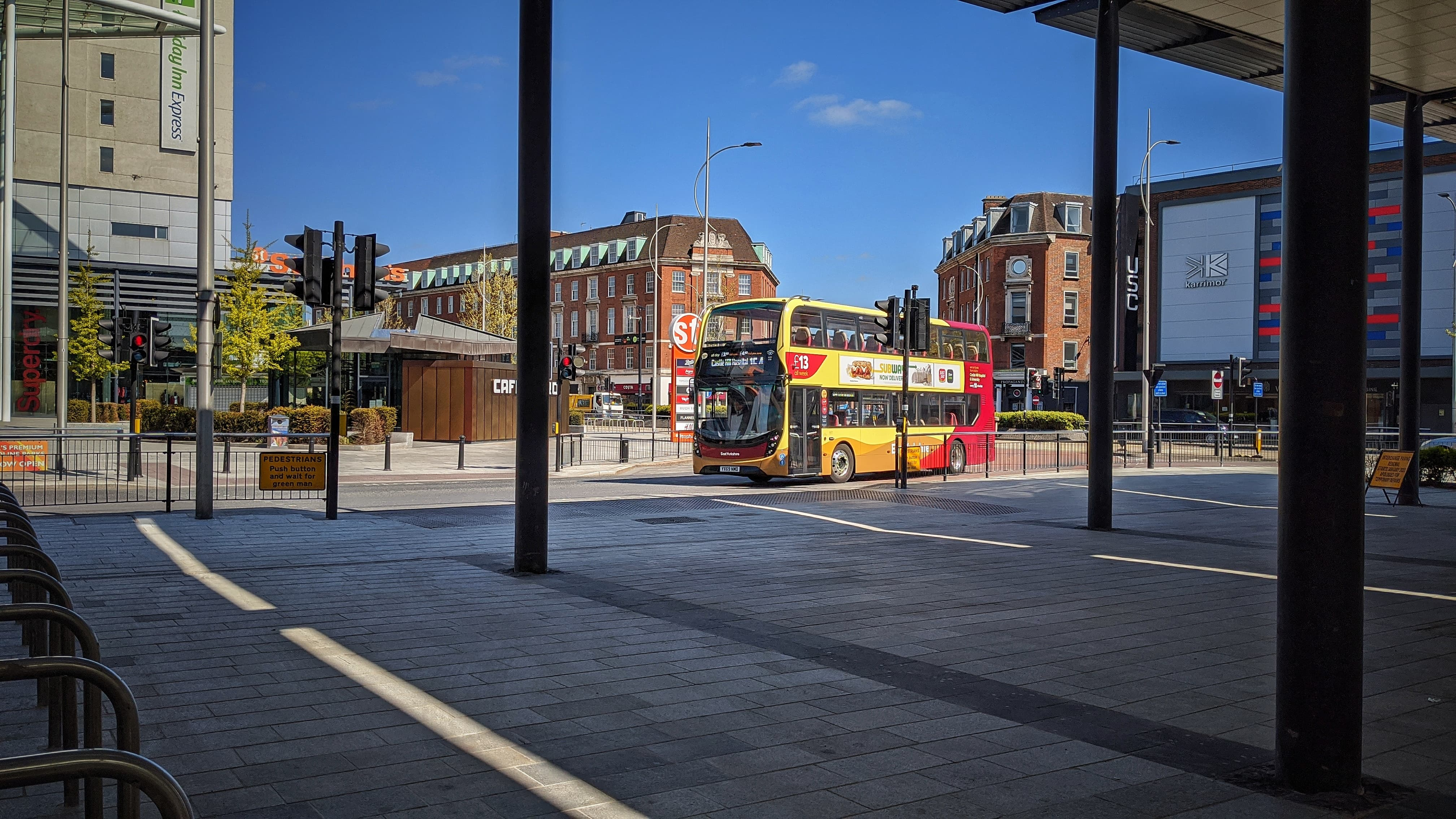 A double decker East Yorkshire bus drives into the Interchange