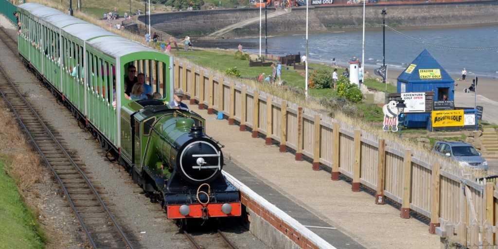 A miniature steam train runs at North Bay Railway in Scarborough